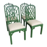 Image of 1970s Chippendale Green Dining Chairs - Set of 4