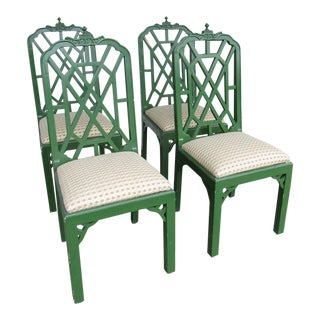 1970s Chippendale Green Dining Chairs - Set of 4