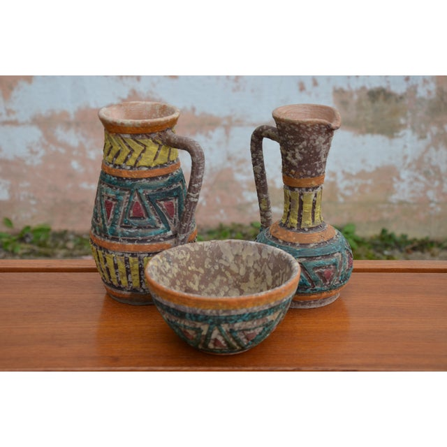 Wonderful designs & textures on these Mid-Century Modern Bitossi for Raymor Italian Lava Glaze Vessels and bowl. Matching...