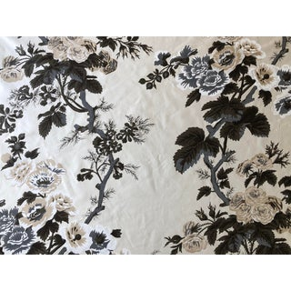 "2010's ""Pyne Hollyhock"" Charcoal Fabric by Schumacher - 3 1/4 Yards For Sale"