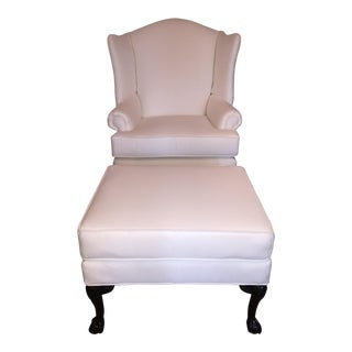 Modern Wingback Chair and Ottoman Set - 2 Pieces For Sale