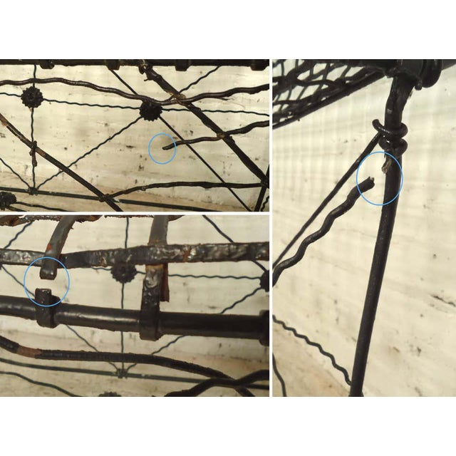 Mid 20th Century Decorative Wrought Iron Bench For Sale - Image 5 of 7