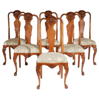 Set of Six Queen Ann Style Chairs C. 1890 For Sale