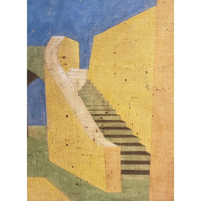 1990s De Chirico Style Painting of Adobe Steps by Jacques Lamy For Sale - Image 5 of 8