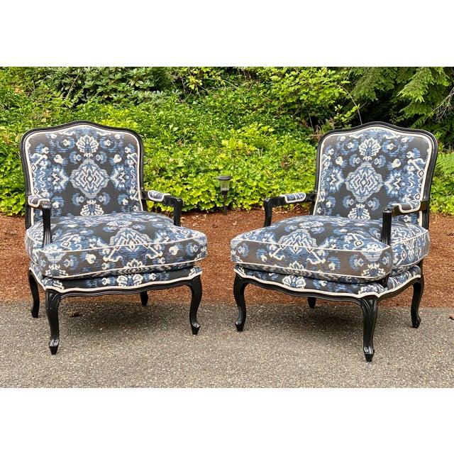 Louis XV Custom Upholstered Down Filled Bergere Chairs - a Pair For Sale - Image 13 of 13