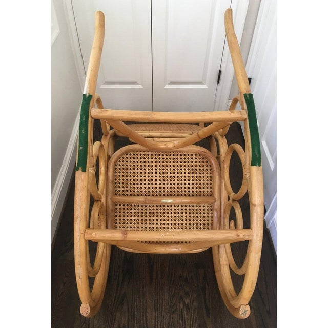 Wicker Mid-Century Boho Chic Bentwood Bamboo Rocking Chair For Sale - Image 7 of 10