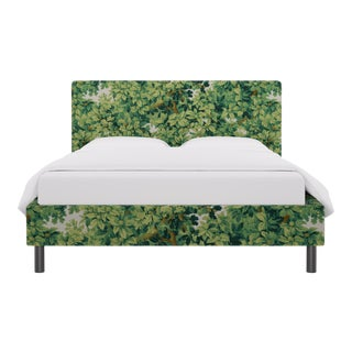 Queen Tailored Platform Bed In Verdure Bois De Chene By Old World Weavers For Sale