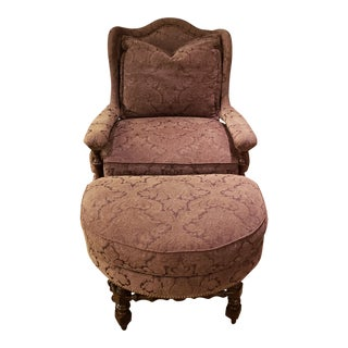 1980s Vintage Guy Chaddock & Company Chenille Wingback Chair With Ottoman For Sale