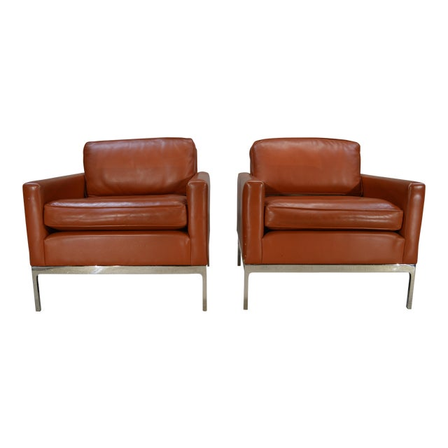 Nicos Zographos Soft Leather Club Lounge Chairs - a Pair For Sale