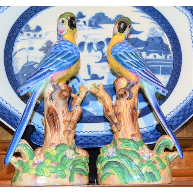 Vintage Chinese Blue Majolica Parrot Figurines - a Pair For Sale - Image 9 of 15