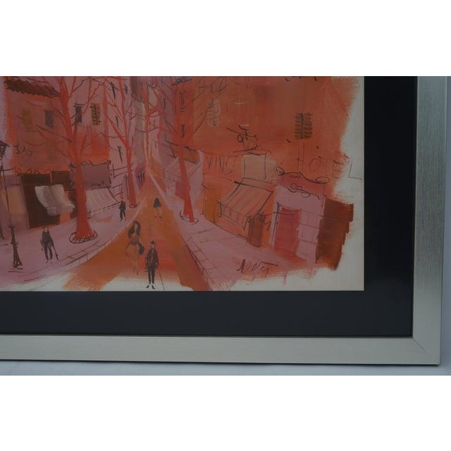 """Watercolor Mid-Century Modern Levier """"Street Scene"""" Gouache and Watercolor Painting Signed in the Painting For Sale - Image 7 of 11"""