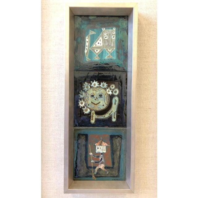 Ceramic Pair of Italian Studio Ceramic Tiles by Bruno Capacci For Sale - Image 7 of 9