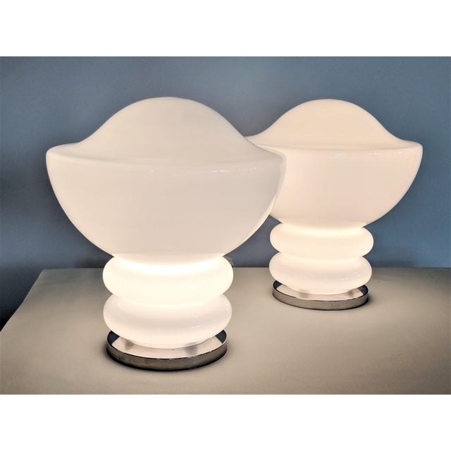 Mid-Century Modern 1970s Mid-Century Modern Mazzega Glass and Chrome Table Lamps - a Pair For Sale - Image 3 of 13