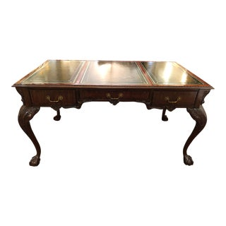 Traditional Power Broker Classic Carved Wood and Leather Writing Desk For Sale