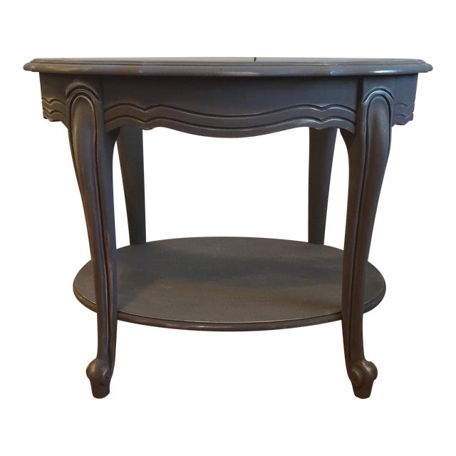 Painted Glass Top Side Table - Image 1 of 7