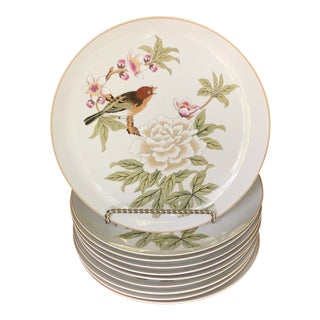 Shiffered Chinese Garden Fine China Dinner Plates - Set of 10 For Sale
