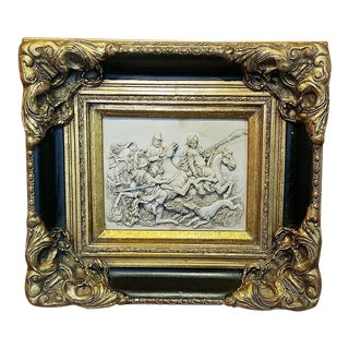 19c Indo Persian Framed Marble Plaque of Wild Boar Hunt