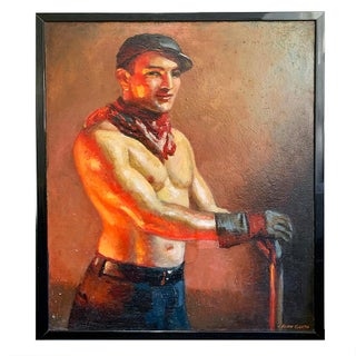 """Circa 1920s """"Ironworker"""" Portrait Oil Painting by John Garth, Framed For Sale"""
