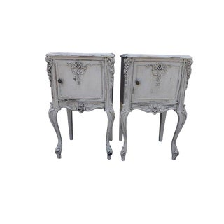 Antique French Gustavian Style Carved Night Stands / Side Tables - a Pair