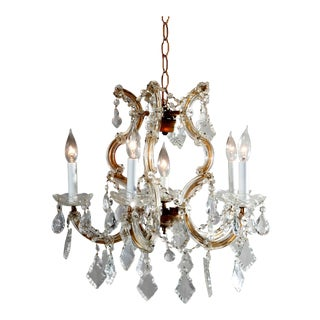 Vintage French Brass and Cut Crystal Chandelier 20th Century For Sale