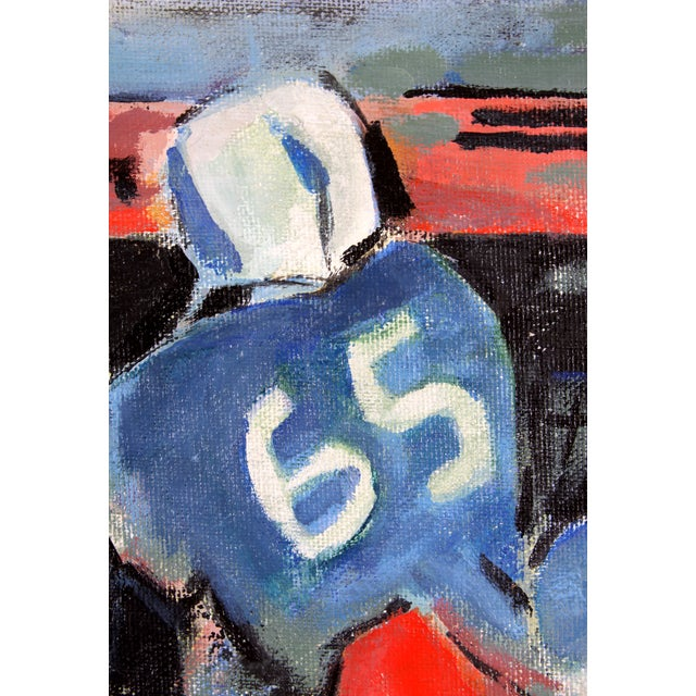 """The Tackle"" by Ruth Medernach Football Painting - Image 3 of 5"