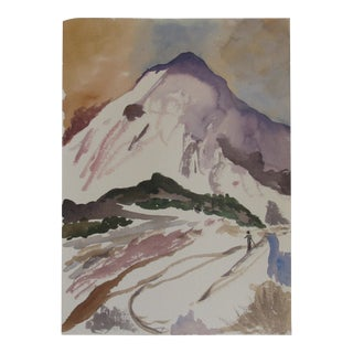 Skiing at Sunset Watercolor For Sale