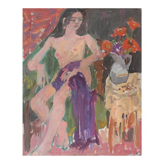 'Seated Nude With Flowers' by Janet Ament, California Post Impressionist, Chouinard Art Institute, Paris, Academie Chaumière For Sale