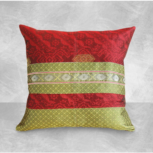 Red & Gold Handwoven, Bohemian Style, Thanksgiving Ikat Pillow Cover - Pair - Image 2 of 4
