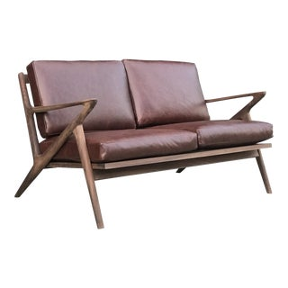 Custom Z Loveseat in Merlot Leather For Sale
