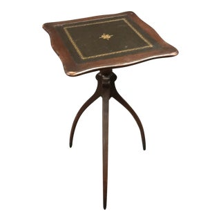 1940's English Leather Topped Edwardian Three Leg Drinks Table For Sale