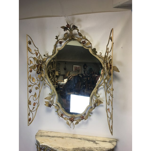 1950s Vintage Italian Tole Caged Mirror & Marble Top Console Table For Sale - Image 4 of 13