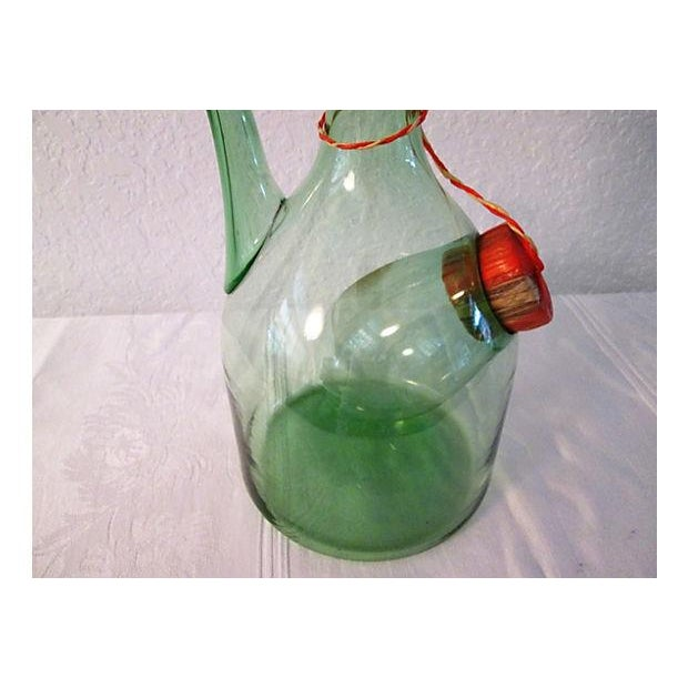 Vintage Italian Green Blown Glass Wine Carafe - Image 3 of 8