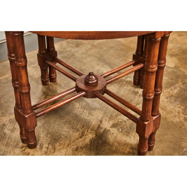 Pair Mid-Century Faux Bamboo Side Tables For Sale - Image 4 of 6