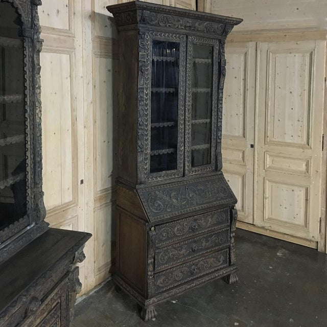 19th Century English Renaissance Weathered Oak Secretary Bookcase For Sale - Image 11 of 11