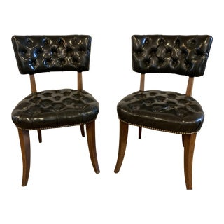 Mid-Century Modern Black Tufted Chairs - a Pair For Sale