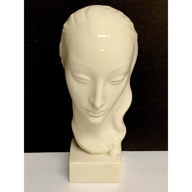 Lenox Geza De Vegh for Lenox Art Deco Portrait Bust of a Woman Sculpture For Sale - Image 4 of 13
