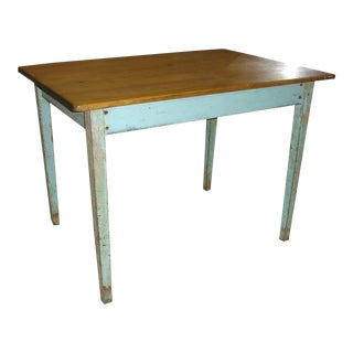 19th Century French Country Blue Painted Quebec Farm Table For Sale