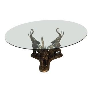 1980s Figurative Bronze Elephant Table For Sale