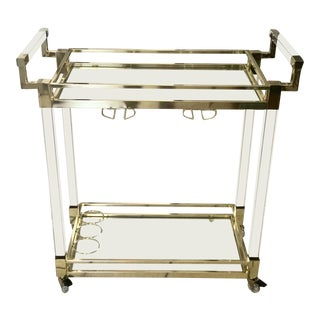 Modern Brass and Glass Tea and Bar Cart For Sale