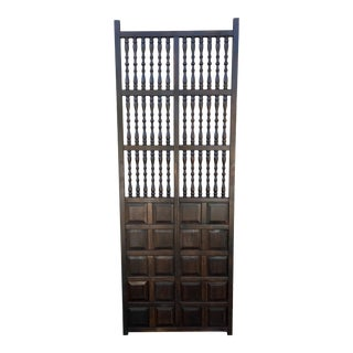 1950s Vintage Turned Wood & Walnut Paneled Door For Sale