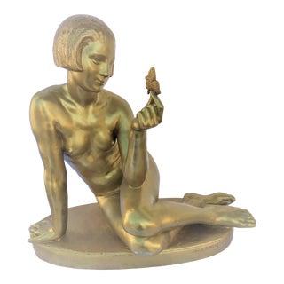 Art Deco Gold Finish Signed Heavy Original Sculpture For Sale