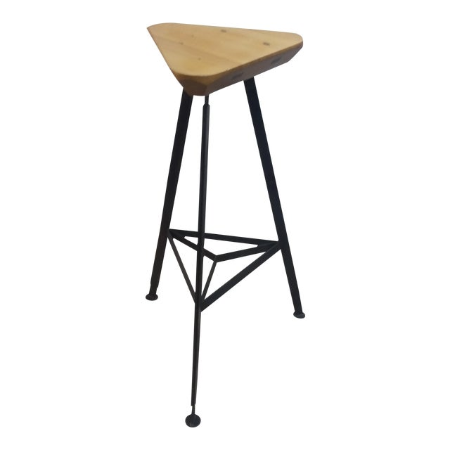 Delta Steel and Pine Stool For Sale
