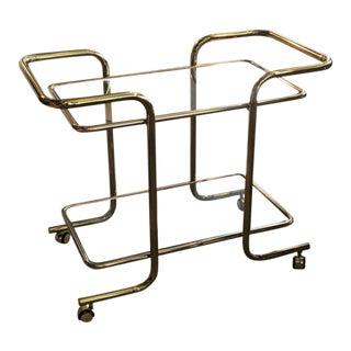 Tubular Brass and Glass Bar Cart For Sale