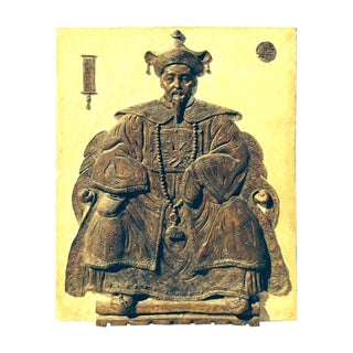 Monumental Mid-Century Plaster Bas Relief of a Seated Scholar For Sale