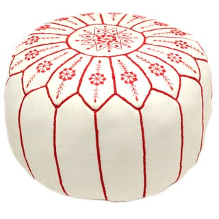 Embroidered Leather Pouf - Red on White Starburst (Stuffed) For Sale