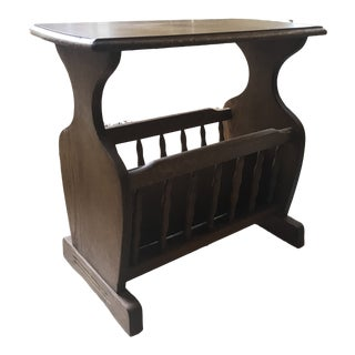 Hardwood Side Table With Room for Magazine Storage For Sale