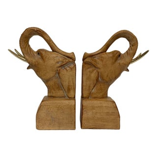 Vintage Plaster Elephant Bookends With Brass Tusks – a Pair For Sale