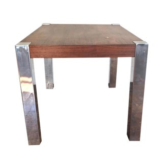 Milo Baughman Style Walnut and Chrome Side Table For Sale