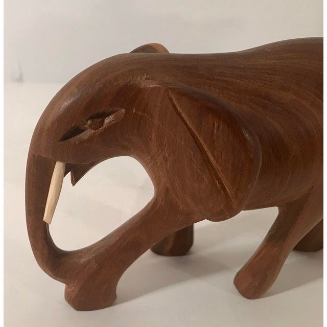 Vintage Wooden Carved Elephant For Sale - Image 9 of 10