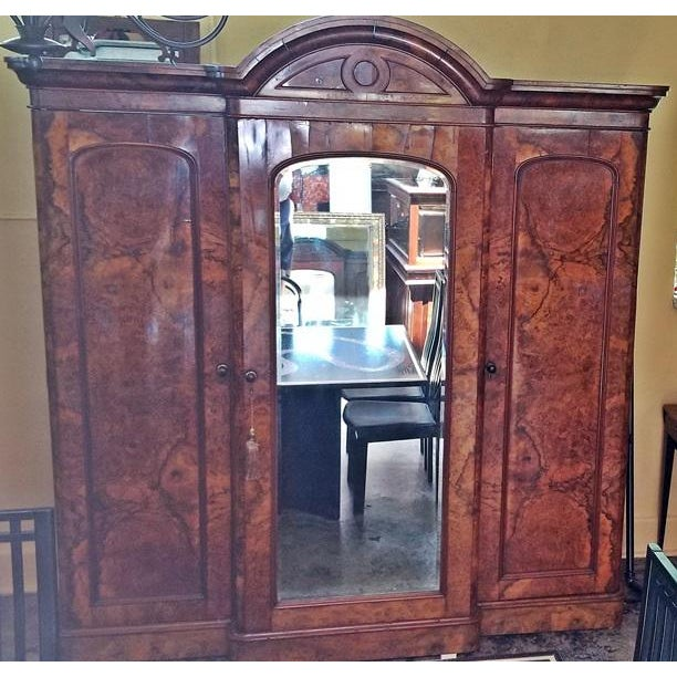 Traditional 19c British Burl Walnut Breakfront 3 Door Wardrobe With Chest of Drawers For Sale - Image 3 of 13